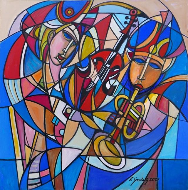Obraz do salonu artysty Eugeniusz Gerlach pod tytułem Muzykanci - 021