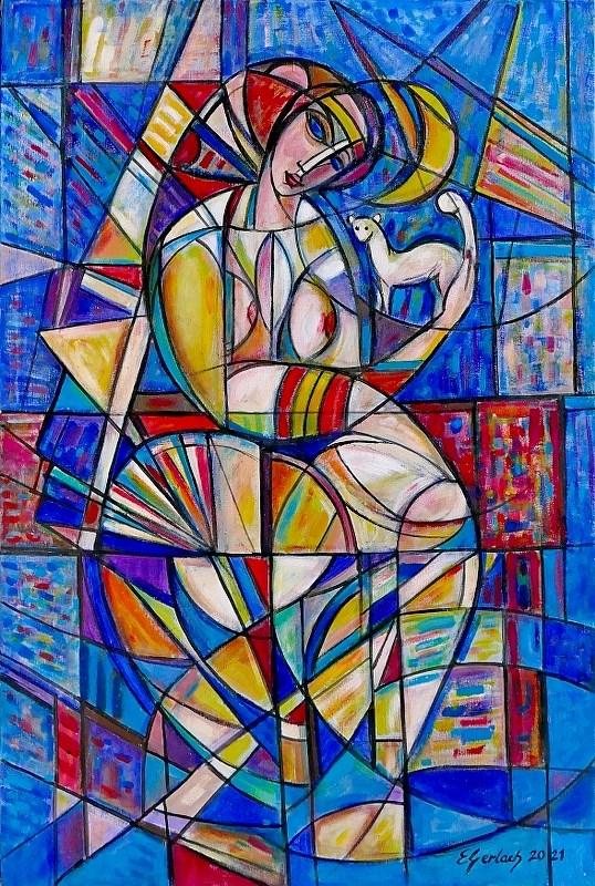 Obraz do salonu artysty Eugeniusz Gerlach pod tytułem Księżycowa dama z łasiczką