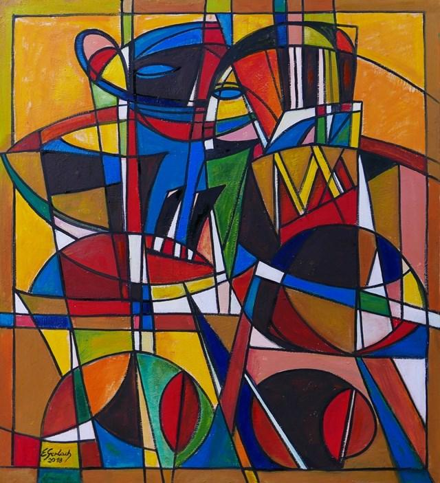 Obraz do salonu artysty Eugeniusz Gerlach pod tytułem Bal maskowy - tango