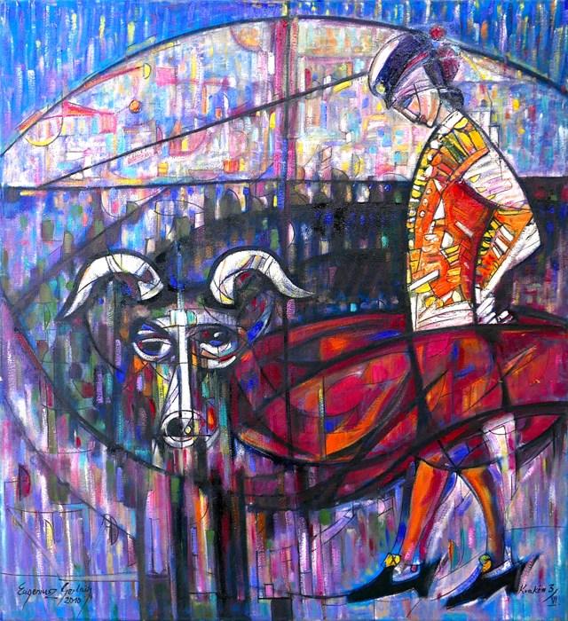 Obraz do salonu artysty Eugeniusz Gerlach pod tytułem Byk i Torreador