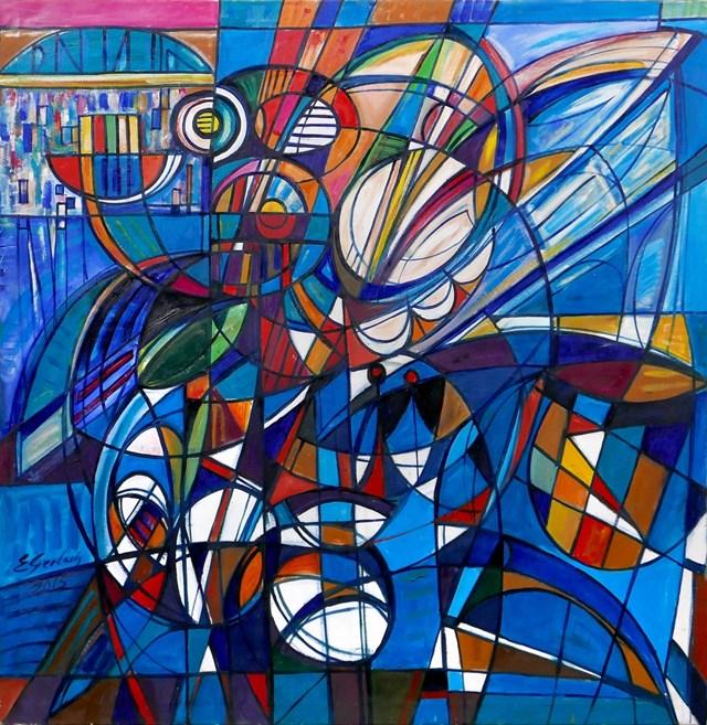 Obraz do salonu artysty Eugeniusz Gerlach pod tytułem Kompozycja Niebieska - III