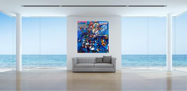 Kompozycja Niebieska - III - wizualizacja pracy autora Eugeniusz Gerlach