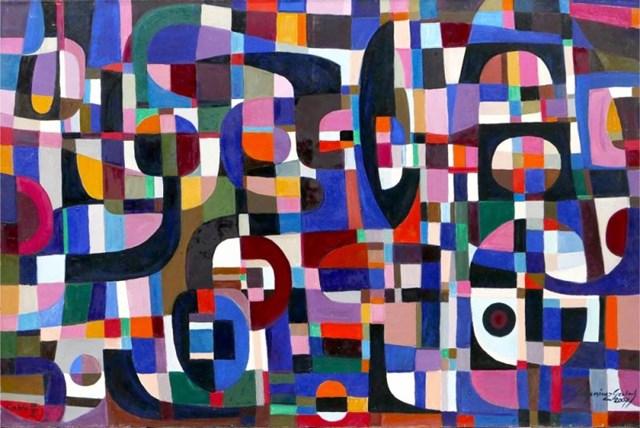 Obraz do salonu artysty Eugeniusz Gerlach pod tytułem Kompozycja fioletowa