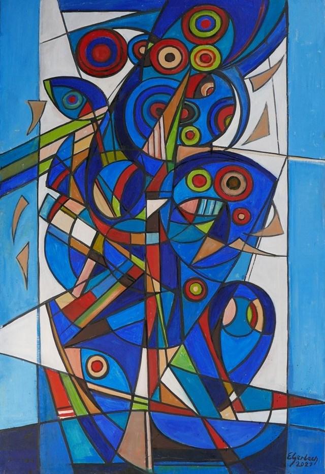 Obraz do salonu artysty Eugeniusz Gerlach pod tytułem Kompozycja błękitna