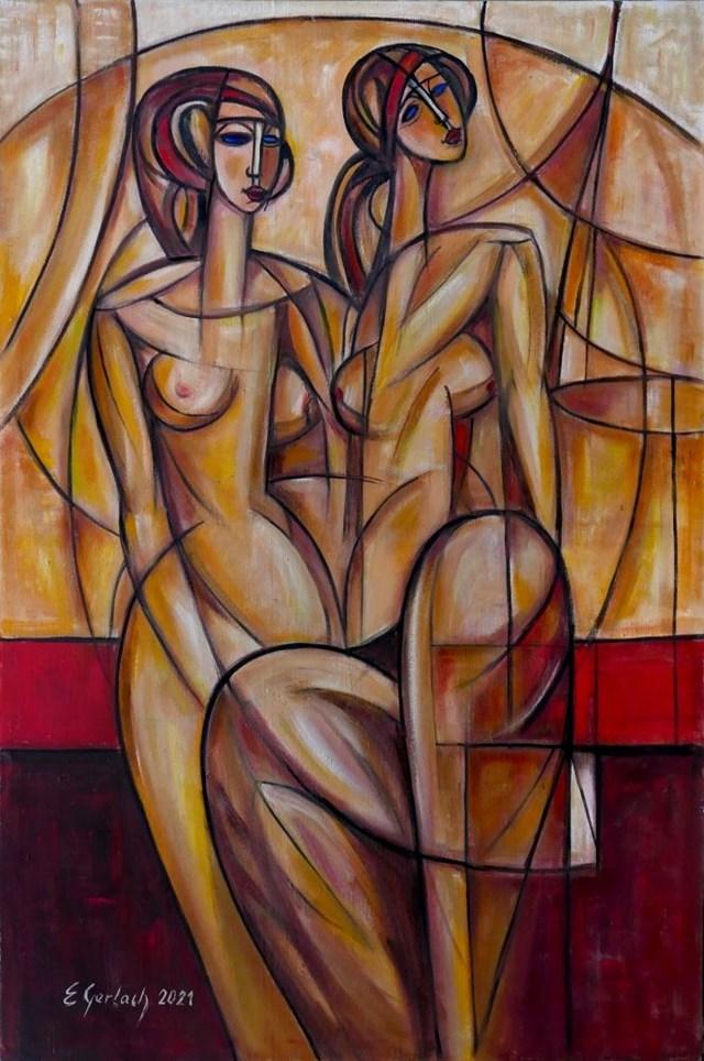 Obraz do salonu artysty Eugeniusz Gerlach pod tytułem Dwa akty