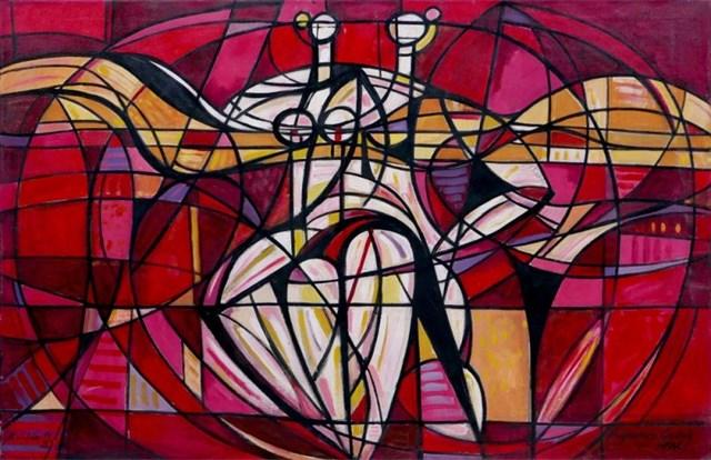 Obraz do salonu artysty Eugeniusz Gerlach pod tytułem Czerwony balet