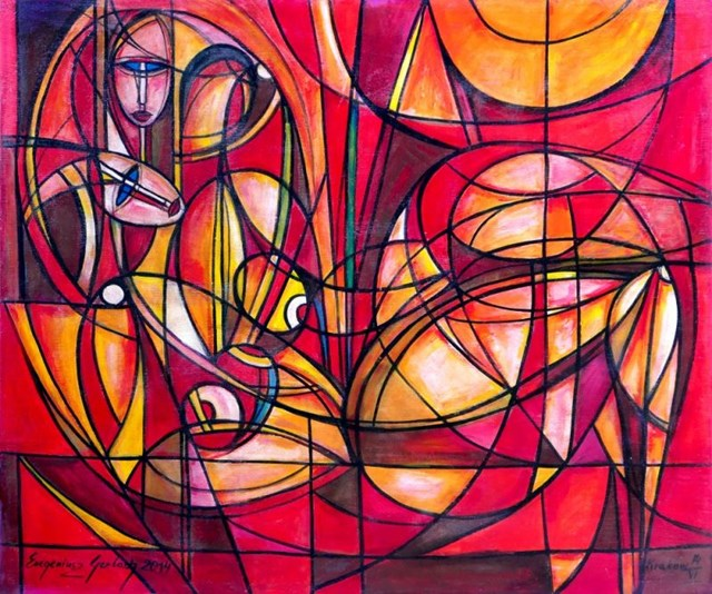 Obraz do salonu artysty Eugeniusz Gerlach pod tytułem Przyjaciółki