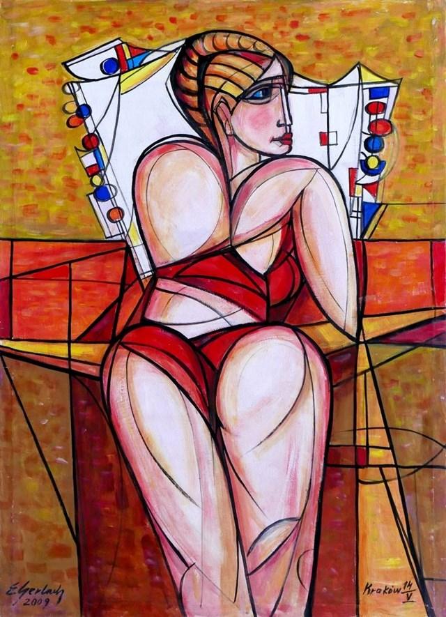 Obraz do salonu artysty Eugeniusz Gerlach pod tytułem Akt z dekoracyjną poduszką