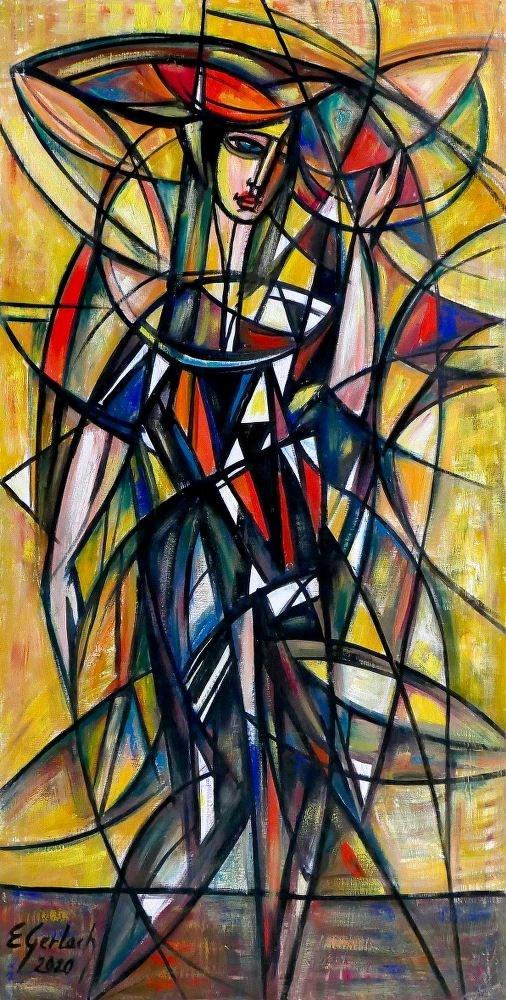 Obraz do salonu artysty Eugeniusz Gerlach pod tytułem Dama w czerni
