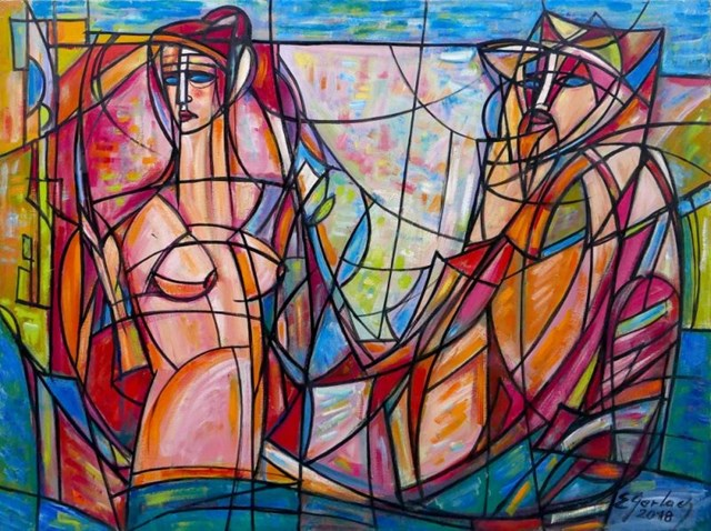 Obraz do salonu artysty Eugeniusz Gerlach pod tytułem Posejdon i Afrodyta