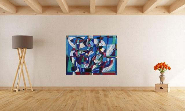 Kompozycja błękitna - wizualizacja pracy autora Eugeniusz Gerlach