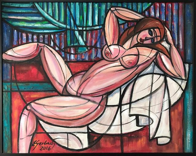 Obraz do salonu artysty Eugeniusz Gerlach pod tytułem Akt na czerwonym stoliku