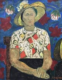 Obraz do salonu artysty Eugeniusz Gerlach pod tytułem Portret kobiety w słomkowym kapeluszu