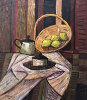 Living room painting by Eugeniusz Gerlach titled Still life with a basket