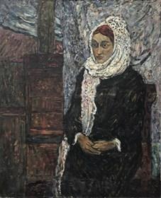 Obraz do salonu artysty Eugeniusz Gerlach pod tytułem Portret dziewczyny z białym szalem