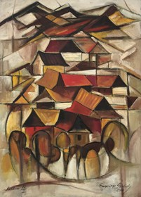 Obraz do salonu artysty Eugeniusz Gerlach pod tytułem Góralska wioska