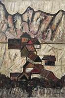 Obraz do salonu artysty Eugeniusz Gerlach pod tytułem Domki u podnóża