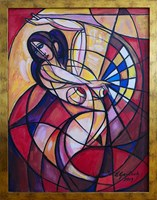 Living room painting by Eugeniusz Gerlach titled Carmen dancing