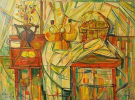 Living room painting by Eugeniusz Gerlach titled Still Life, Krakow 19-VIII