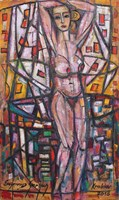Living room painting by Eugeniusz Gerlach titled Posing - Act