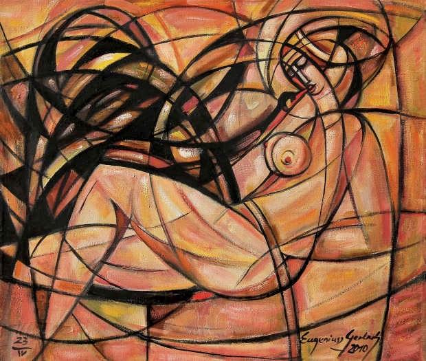 Obraz do salonu artysty Eugeniusz Gerlach pod tytułem Leda z czarnym łabędziem