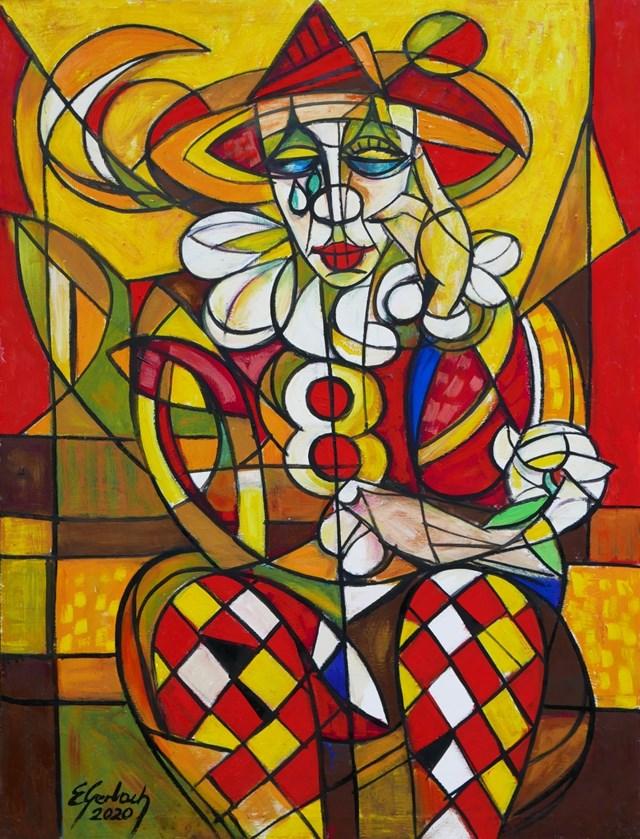Obraz do salonu artysty Eugeniusz Gerlach pod tytułem Arlekin z białą różą