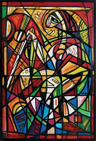 Obraz do salonu artysty Eugeniusz Gerlach pod tytułem Grająca na harfie