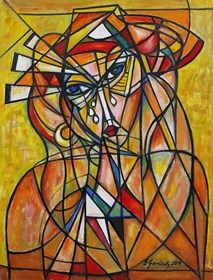 Obraz do salonu artysty Eugeniusz Gerlach pod tytułem Kobieta w kapeluszu