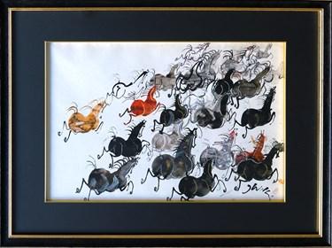 Obraz do salonu artysty Józef Wilkoń pod tytułem Konie