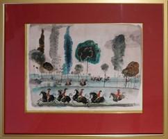 Obraz do salonu artysty Józef Wilkoń pod tytułem Austriacka szkoła jazdy na błoniach krakowskich