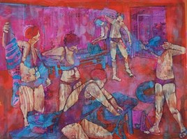 Living room painting by Monika Ślósarczyk titled Cloakroom