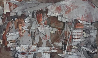 Living room painting by Monika Ślósarczyk titled Morocco 2