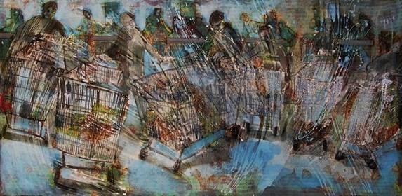 Obraz do salonu artysty Monika Ślósarczyk pod tytułem Wyprzedaż w biedronce