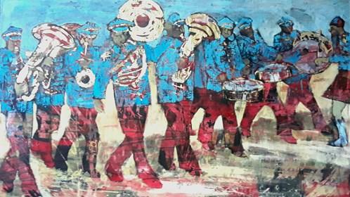 Obraz do salonu artysty Monika Ślósarczyk pod tytułem Orkiestra dęta