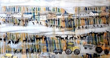 Living room painting by Monika Ślósarczyk titled The horizon of the Drawsko Lake District