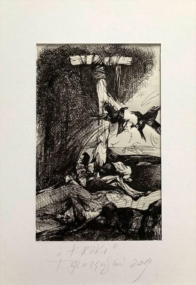 Grafika do salonu artysty Tomasz Tobolewski pod tytułem Kruki
