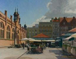 Obraz do salonu artysty Michał Janicki pod tytułem Rynek Miejski, Gdańsk