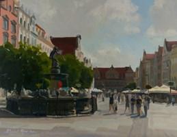 Obraz do salonu artysty Michał Janicki pod tytułem Fontanna Neptuna, Gdańsk