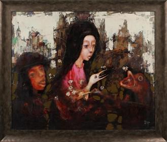 Obraz do salonu artysty Piotr Januszkiewicz pod tytułem Księżniczka cyrku