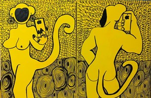 Obraz do salonu artysty Iwona Molecka pod tytułem She and he- crazy yellow - dyptyk