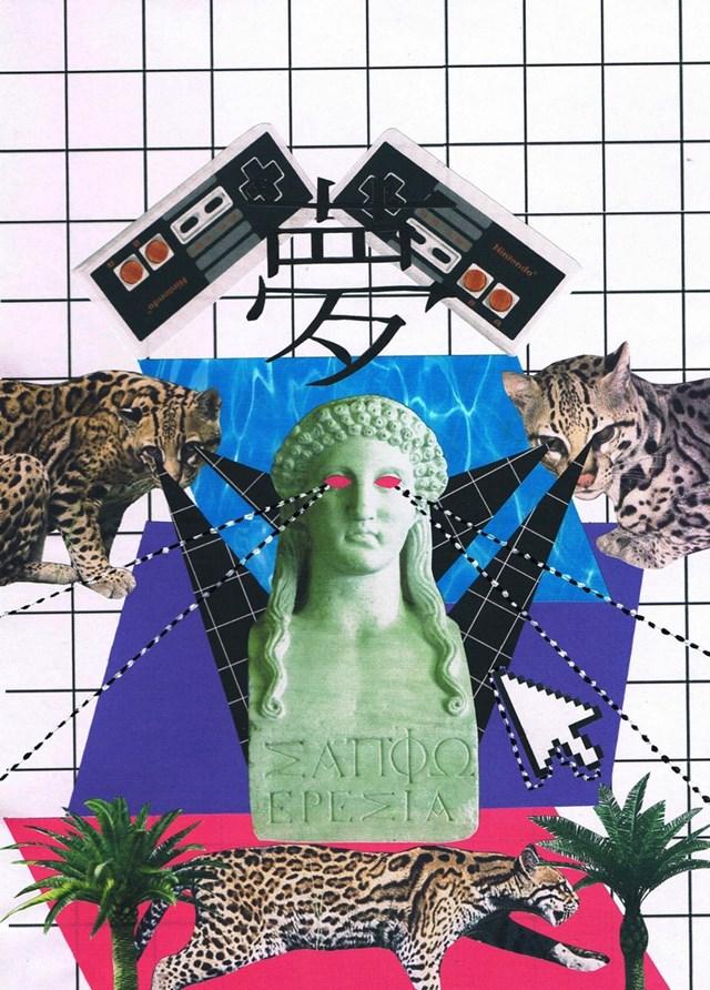 Obraz do salonu artysty Agnieszka Giera pod tytułem Kolaż Vaporwave 3