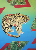 Living room painting by Agnieszka Giera titled Ocelot