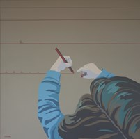 Living room painting by Joanna Sułek-Malinowska titled Lines of life