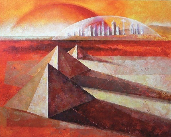 Living room painting by Marta Bilecka titled Toth's Ark