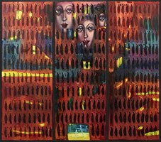 Living room painting by Aleksander Grzybek titled Triptych on the go