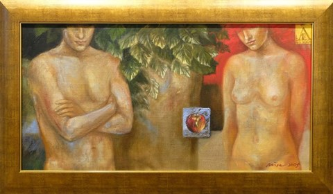 Obraz do salonu artysty Mira Skoczek-Wojnicka pod tytułem Adam i Ewa