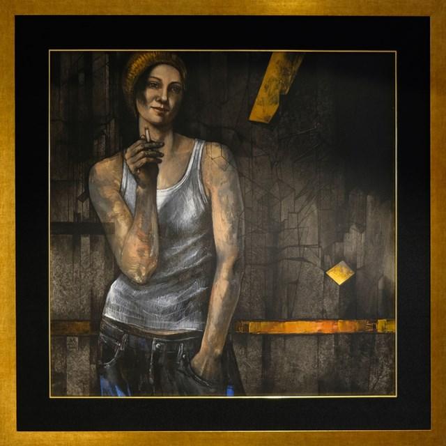 Obraz do salonu artysty Mira Skoczek-Wojnicka pod tytułem dziewczyna z papierosem