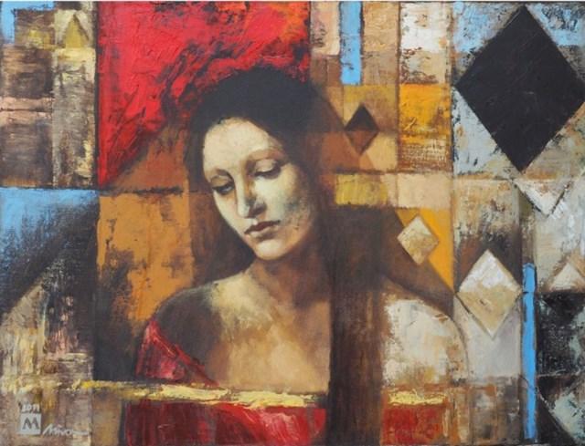 Obraz do salonu artysty Mira Skoczek-Wojnicka pod tytułem Portret Z Czerwoną Dominantą