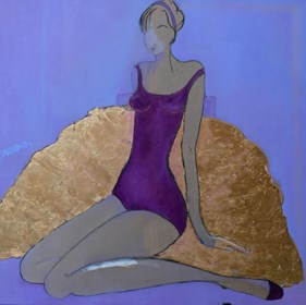 Living room painting by Joanna Sarapata titled Ballerina- violet