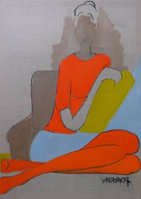 Living room painting by Joanna Sarapata titled Sitting